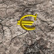 3d Illustration of Gold Euro on Cracked Rock Stock Illustration