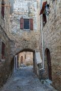 Street in medieval town - stock photo