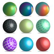 3d gradient balls with different patterns Stock Illustration