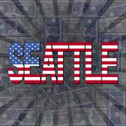 Seattle flag text on dollars sunburst illustration Piirros