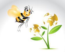 Happy Bee Character Stock Illustration