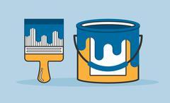 brush and paint bucket, vector flat line illustration - stock illustration