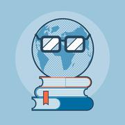 Earth with eyeglasses standing on books - stock illustration