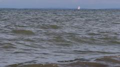 Isolated sailboat at sea, 1080p establishing shot Stock Footage