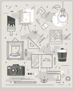 poster on topics of painting, illustration and photography - stock illustration