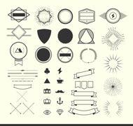 Stock Illustration of set of vintage elements for making logos, badges and labels