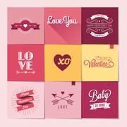 Set of nine Valentine's day stickers Stock Illustration