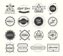 set of vintage badges and labels, inspired by space themes - stock illustration