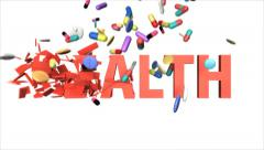 Colorful falling drugs smash red lettering HEALTH into pieces (FULL HD) Stock Footage