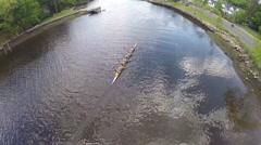 Rowing crew aerial shot, 1080p HD steadicam Stock Footage