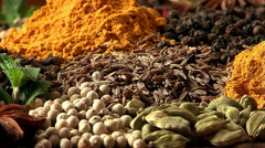 Zira fray. Mixing spices. - stock footage