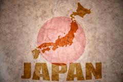 japan vintage map - stock illustration
