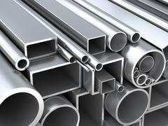 Stock Illustration of Metal round pipes and square tubes at warehouse