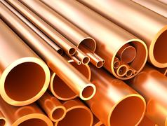 Stock Illustration of Copper pipes and tubes at warehouse