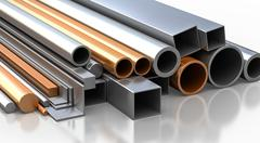 Stock Illustration of Rectangular, round and square Tube and pipe made of steel and copper