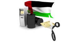 SCISSORS CUTS CREDIT CARD FRON OF ARABIAN EMIRATES OIL MONEY HOLDING ATM Stock Footage