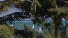 Sailboats in the Caribbean Sea, Belize beauty shot - stock footage