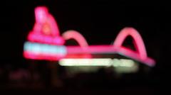 """Rack focus of the original """"Speedee"""" road sign, McDonald's Museum Stock Footage"""