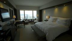 Luxury Hotel Room walk in - steadicam Stock Footage