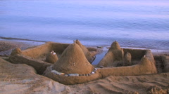 Sand Castle On the Beach Stock Footage