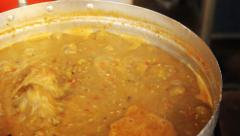 Chili sauce in a pot of boiling, thai food Stock Footage