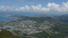 Kailua tropical city from above Stock Footage
