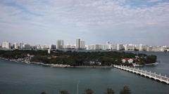Miami Florida scenic skyline aerial pan Stock Footage
