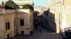 View of the Via della Dataria street from the Piazza del Quirinale. Stock Footage