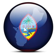 Map on flag button of Guam - stock illustration