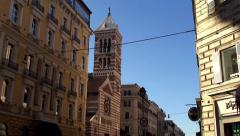 Church of St. Paul's Within the Walls at the Via Nazionale street. Stock Footage