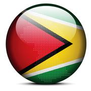 Stock Illustration of Map on flag button of Guyana