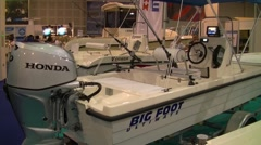 Fishing boat speedboat Boat, fishing and hunting  fair Stock Footage