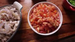 Bowls with ingredients at the table Stock Footage