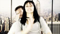 Closeup of happy couple being stupid playing and dancing at home in New York. Stock Footage