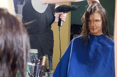blow-dry hair - stock photo