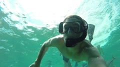 Snorkeling in the Caribbean, Belize tourism - stock footage
