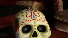 Decorative Skull Candle - Camera Dolly Move - stock footage