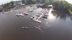 New England marina, wide aerial shot in 1080p HD Stock Footage