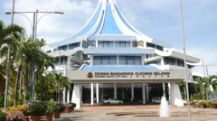 Kuching South City Hall building Stock Footage