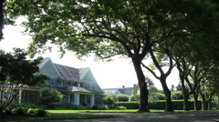 Exterior wide shot of luxury property in East Hampton, NY - stock footage
