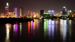 Time Lapse of Scenic Ho Chi Minh City (Saigon) Skyline at Night - Vietnam Stock Footage