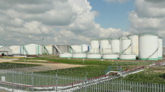 Petrochemical tanks on Canvey Island, Essex, United Kingdom Stock Footage