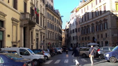 Types of Rome. Traffic at the Piazza Benedetto Cairoli street. Stock Footage