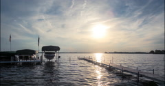 Lake Wawasee at sunset time-lapse, 4K Ultra high definition Stock Footage