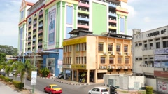 Colourful buildings on Temple Street in Kuching, Borneo, Malaysia Stock Footage