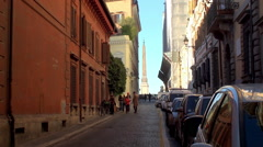 View of the Via Gregoriana with the Obelisco Sallustiano at background. Stock Footage