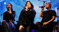 Frozen's Idina Menzel sings the ending of 'Let It Go' Stock Footage
