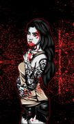 bloody goth woman - stock illustration