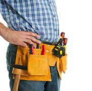 Close-up on worker's toolbelt Stock Photos