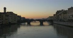 FLORENCE BRIDGE SUNSET  - Ponte Santa Trinità Stock Footage
